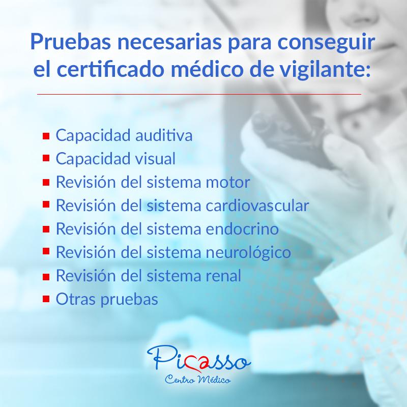 Pruebas necesarias para conseguir el certificado médico de vigilante